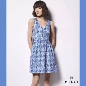 MILLY By DESIGN NATION Blue/Wht Banvin Print Dress